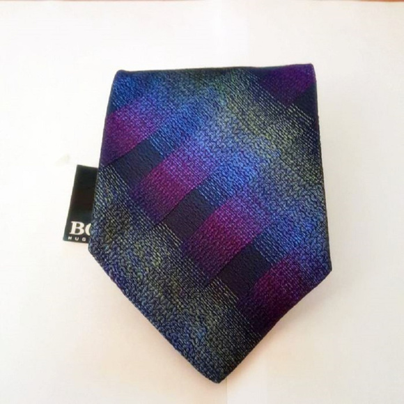 dff9428dc6 ... coupon code for hugo boss 100 woven silk blue purple tie nwt b7e54  5e8fa ...